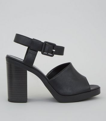 Black Chunky Ankle Strap Heels