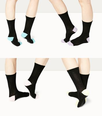 4 Pack Black Marl Trim Ankle Socks