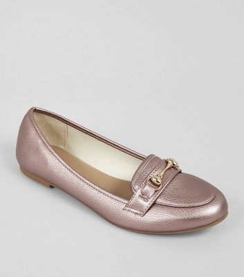 Pink Metallic Trim Loafers