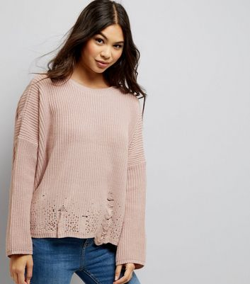 Pink Ladder Knit Hem Jumper