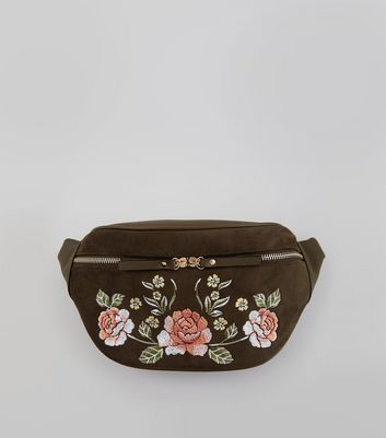Khaki Floral Embroidered Bumbag