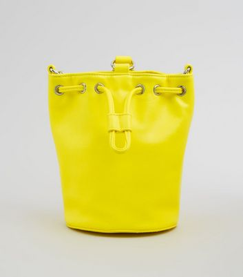 Yellow Drawstring Top Mini Bucket Bag