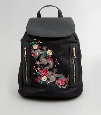 Black Dragon Embroidered Backpack