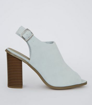 Wide Fit Pale Blue Suedette Peep Toe Heels