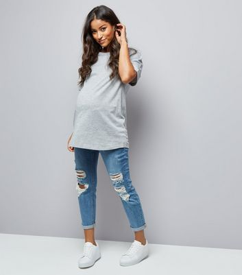 Maternity Blue Ripped Under Bump Mom Jeans