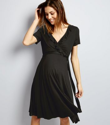 Maternity Black Frill Trim Wrap Dress