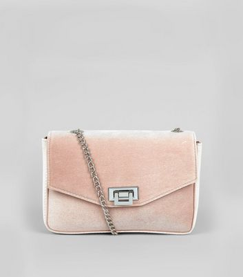 Pink Velvet Lock Front Shoulder Bag