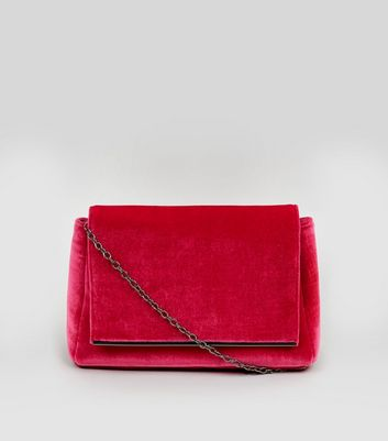 Pink Velvet Snakeskin Textured Shoulder Bag