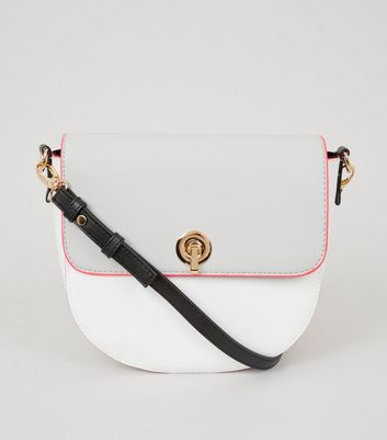 White Neon Trim Saddle Bag
