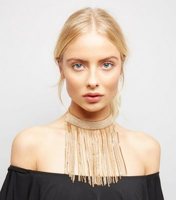 Gold Chain Cascade Drop Choker