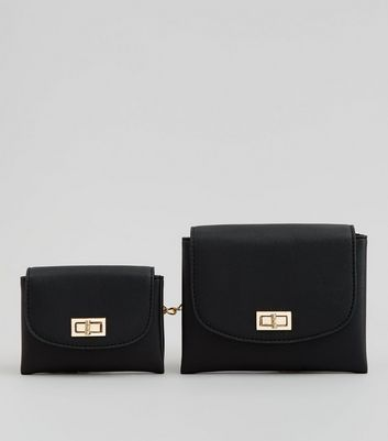Black Double Pouch Purse Belt
