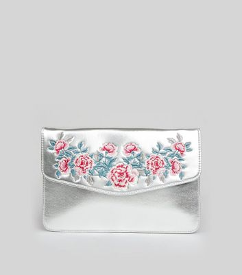 Silver Metallic Floral Embroidered Envelope Clutch