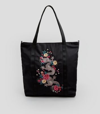 Black Dragon Embroidered Tote Bag