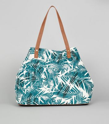 White Tropical Leaf Print Shopper Bag