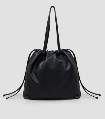 Black Drawstring Tote Bag