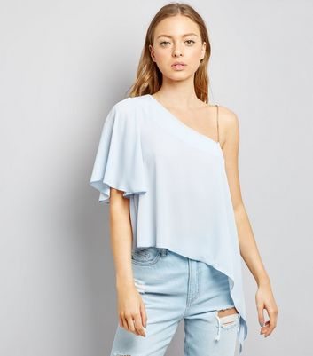 Pale Blue Off the Shoulder Blouse