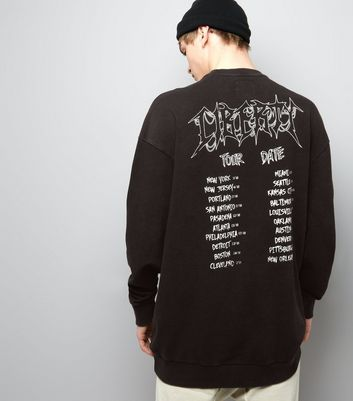 Black Acid Wash Liberty Print Tour Sweater
