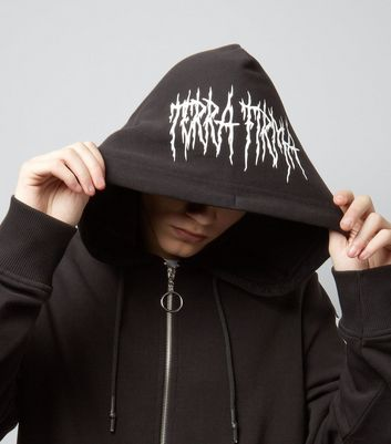 Black The End Print Zip Front Hoodie