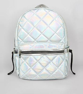Pale Blue Metallic Backpack