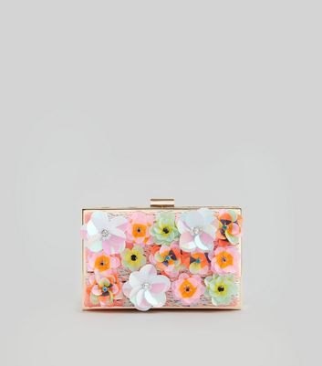 Pink Sequin Flower Box Clutch
