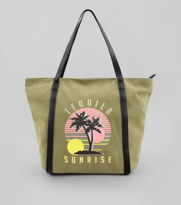 Khaki Tequila Sunrise Contrast Printed Canvas Tote