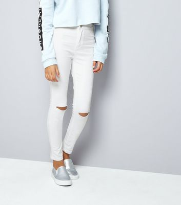 Teens White Ripped Knee High Waist Skinny Jeans