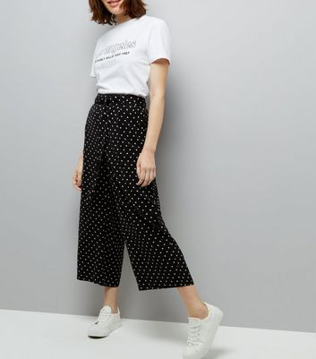 Black Spot Print Tie Waist Cropped Trousers