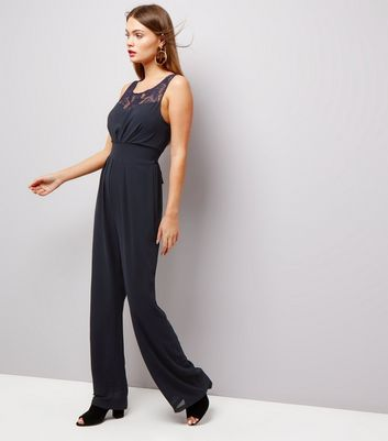 Mela Navy Lace Panel Sleeveless Jumpsuit
