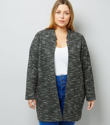Curves Black Brushed Jersey Longline Jacket
