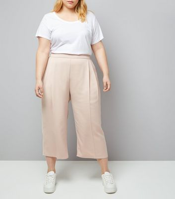 Curves Shell Pink Sateen Cropped Trousers