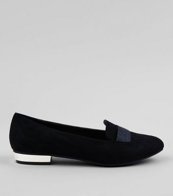 Wide Fit Black Metal Trim Loafers