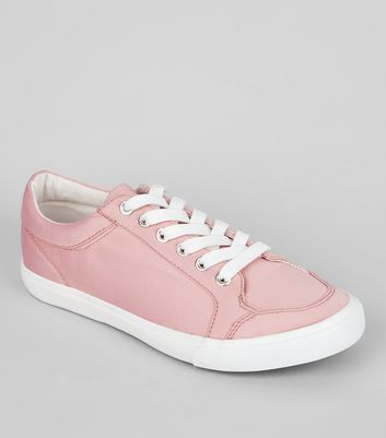 Wide Fit Pink Satin Lace Up Trainers