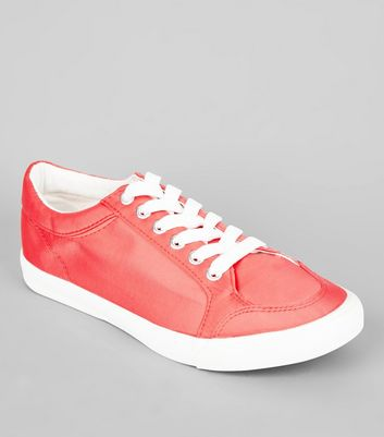 Wide Fit Coral Satin Lace Up Trainers