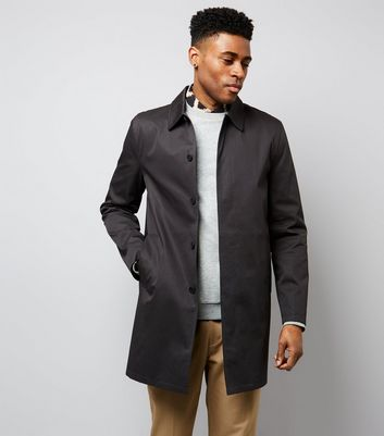 Black Button Front Mac | New Look