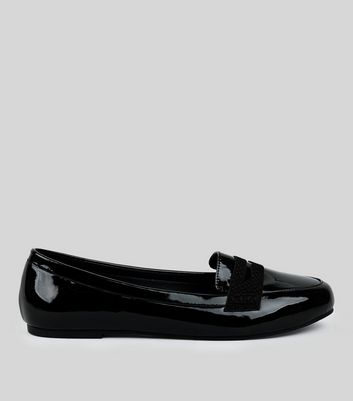 Wide Fit Black Comfort Patent Loafers