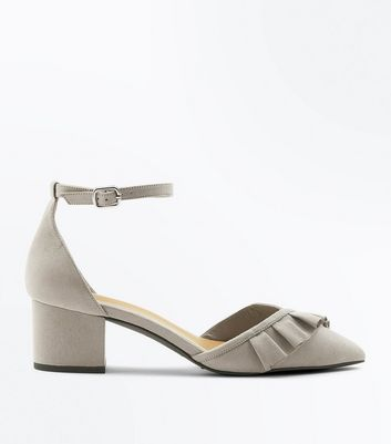 Wide Fit Grey Frill Trim Mini Block Heels