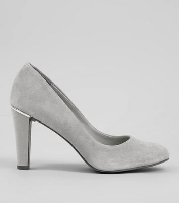 Grey Comfort Suede Metal Trim Court Shoes