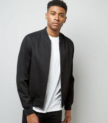 Black Cotton Bomber Jacket