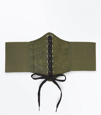 Khaki Lace Up Corset Belt