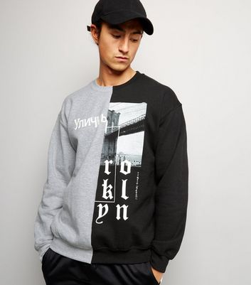 Black Spliced Script Print Sweater