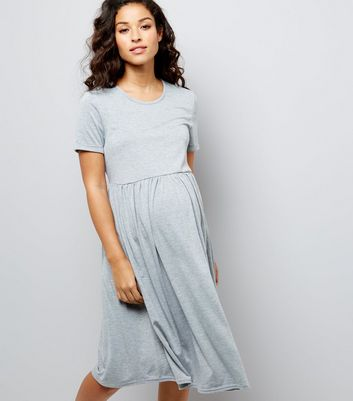 Maternity Grey Jersey Smock Dress