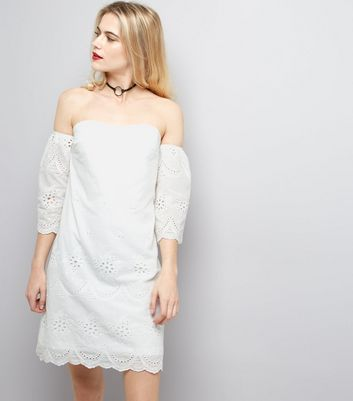 Parisian White Embroidered Bardot Neck Dress