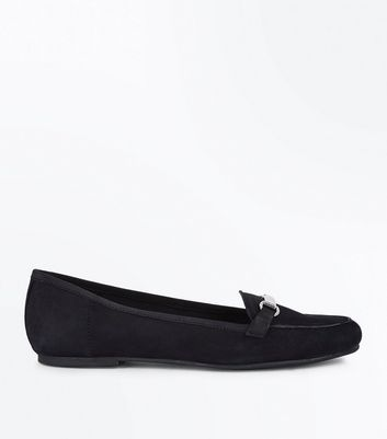 Black Leather Bar Front Loafers
