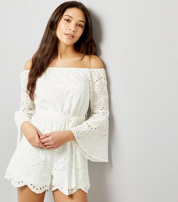 Parisian White Broderie Flared Sleeve Bardot Neck Playsuit