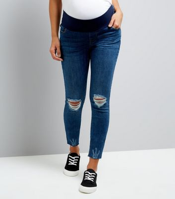 Maternity Blue Under Bump Ripped Knee Skinny Jeans