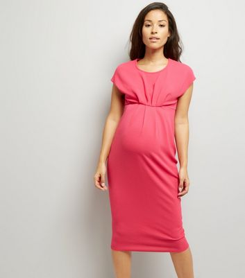 Maternity Bright Pink Short Sleeve Midi Dress