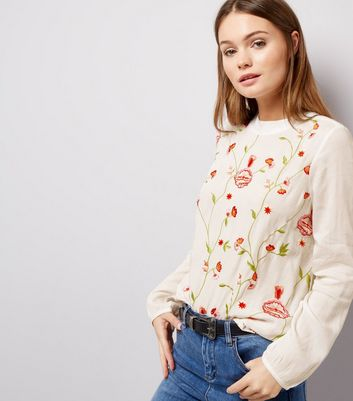 Anita and Green White Floral Embroidered Top