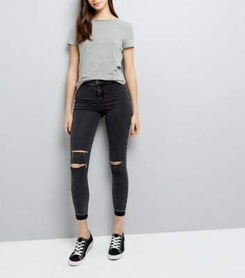 Black Acid Wash Fray Hem Ripped Skinny Hallie Jeans