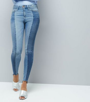 Tall Blue Two Tone Skinny Jeans