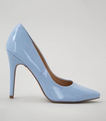 Pale Blue Patent Pointed Court Shoes